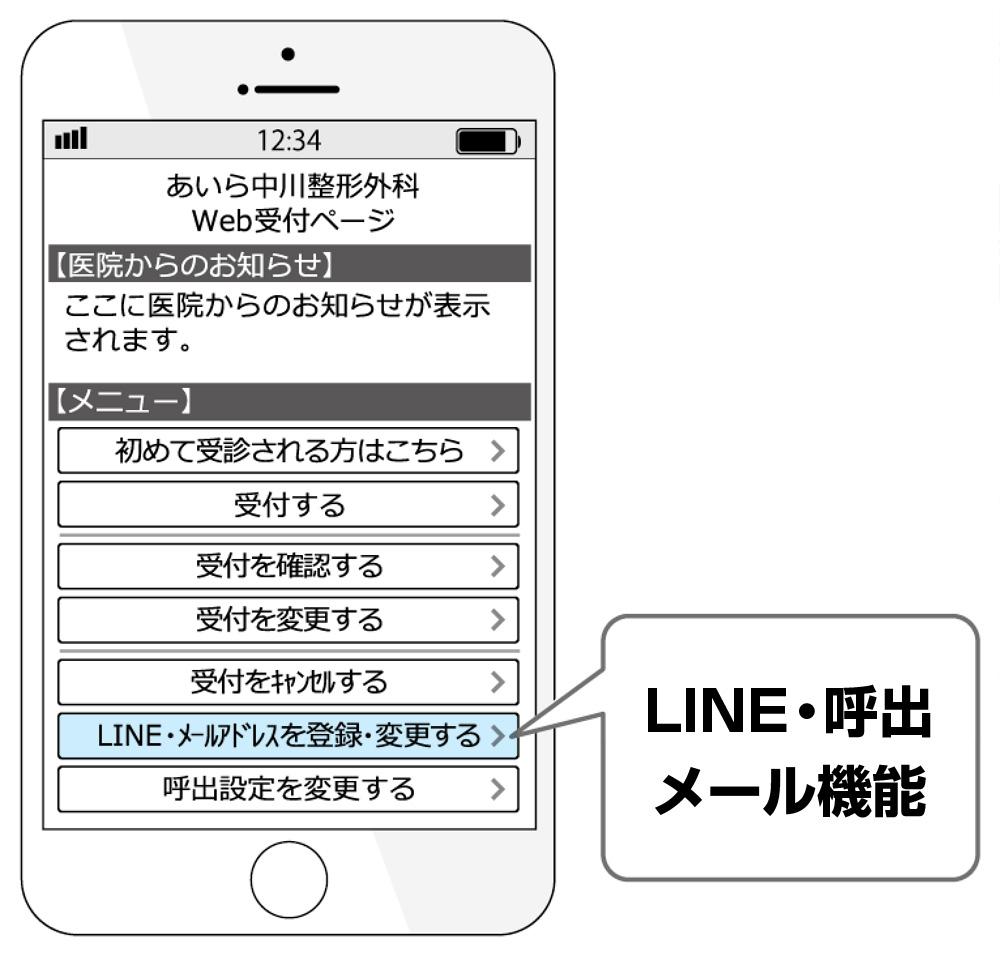 Web予約 LINE・呼出メール機能